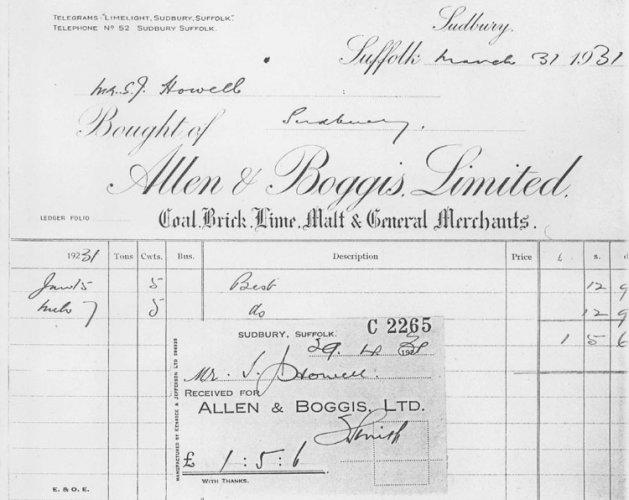 Allen and Boggis receipt