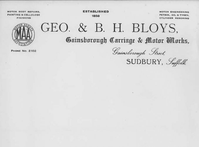 Geo. Bloys headed notepaper