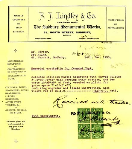 F.J. Lindley receipted invoice
