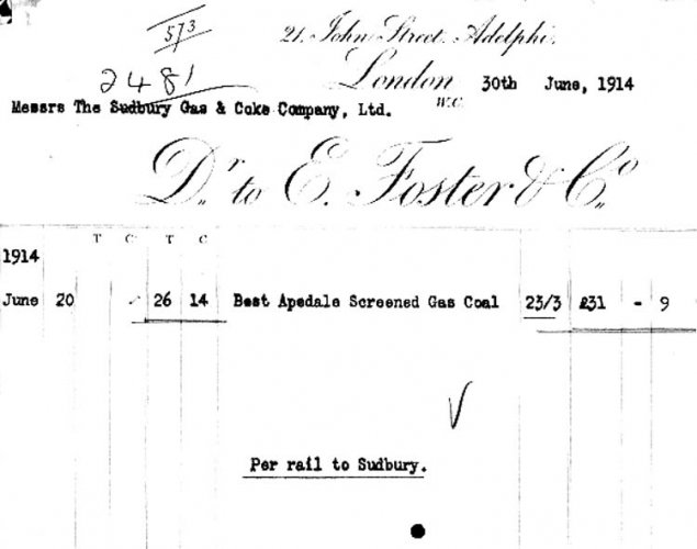 Invoice for supplying Sudbury Gas Works