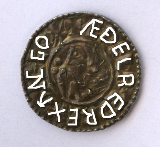 Sudbury penny of Ethelred II obverse traced