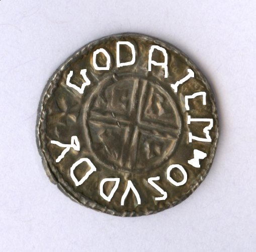 Sudbury penny of Ethelred II reverse-traced