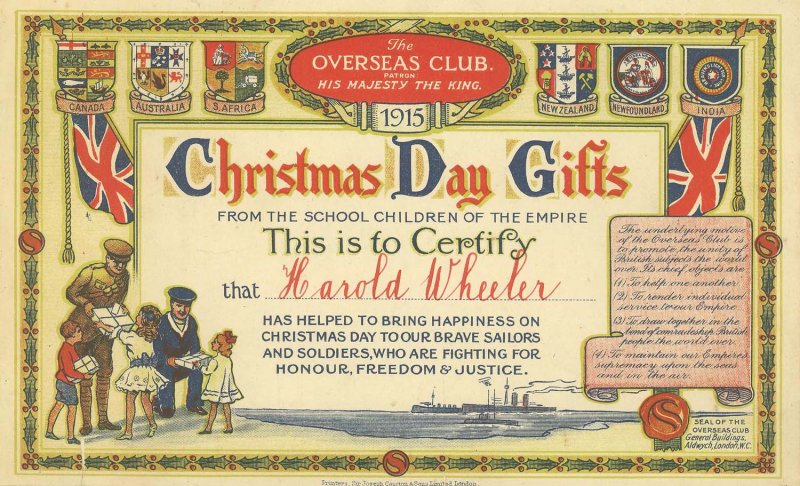 Harold Wheeler certificate 1